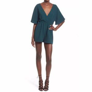 Leith Emerald Green Romper W/ Bell Sleeves Size M